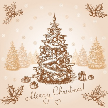 classic handdrawn christmas vector illustration