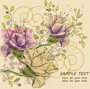 classic handpainted pattern background 03 vector
