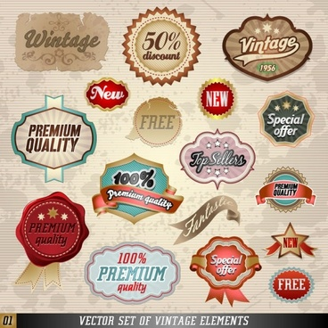 classic label stickers 01 vector