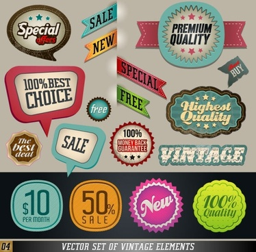 classic label stickers 03 vector