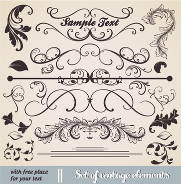document decorative elements elegant classic symmetric shapes