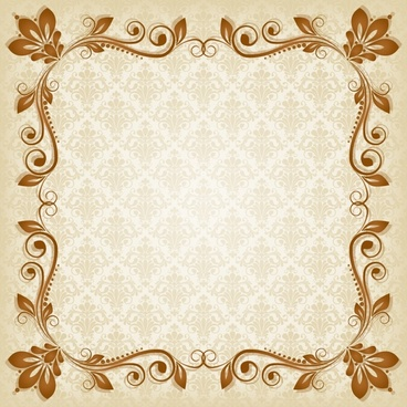 decorative border template elegant symmetric european flora decor