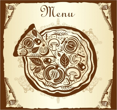 menu cover background pizza icon retro flat sketch