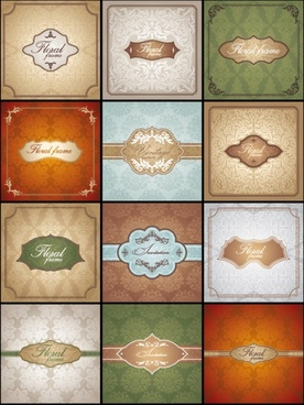 classic pattern cards background 02 vector