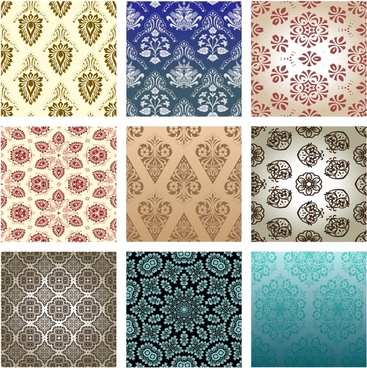classic retro floral wallpaper vector