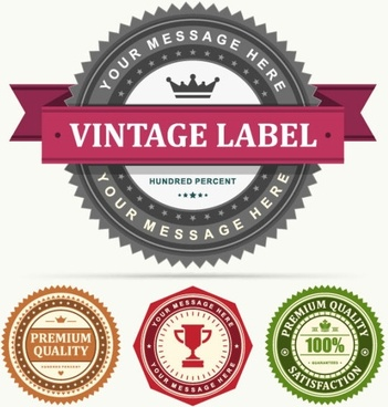 classic retro stickers 03 vector
