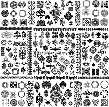 decorative elements collection black white retro illusion shapes