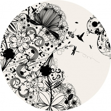 doodle nature background black white messy sketch