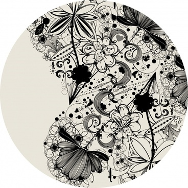 doodle flowers background black white flat circle isolation