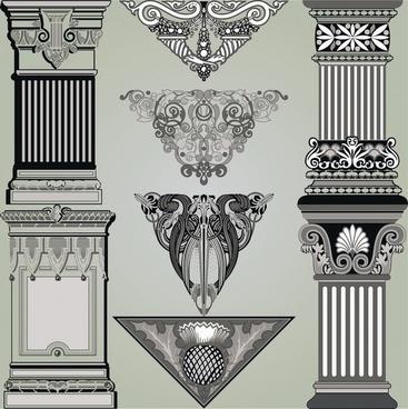 hellenistic decorative templates elegant luxury retro symmetric shapes