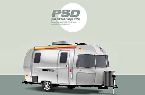 Classic trailer Free PSD File
