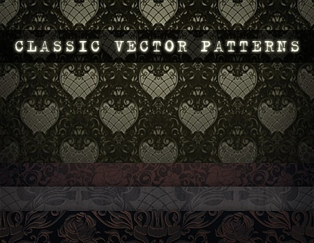 classic patterns background sets dark curves decoration