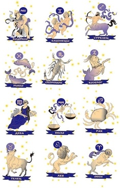 zodiac sign icons classical characters animals objects sketch