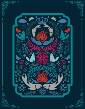 classical background dark blue decor symmetric design