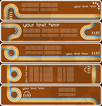 banner templates colorful curved lines ornament