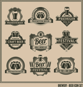 classical beer labels creative vector