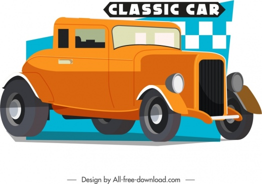 classical car advertising banner orange 3d design