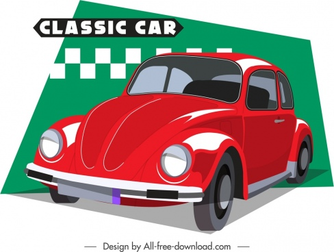 classical car advertising banner red 3d design
