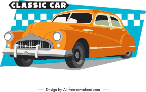 classical car icon orange 3d sketch