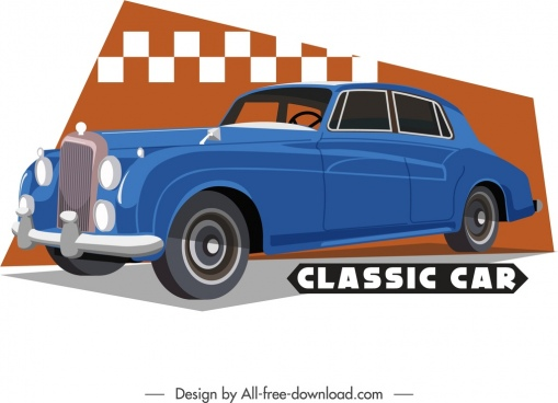 classical car template luxury blue decor