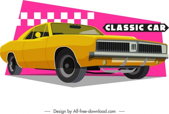 classical car template yellow 3d design