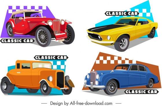 classical car templates colored 3d design