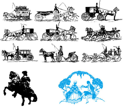 classical carriage silhouette vector