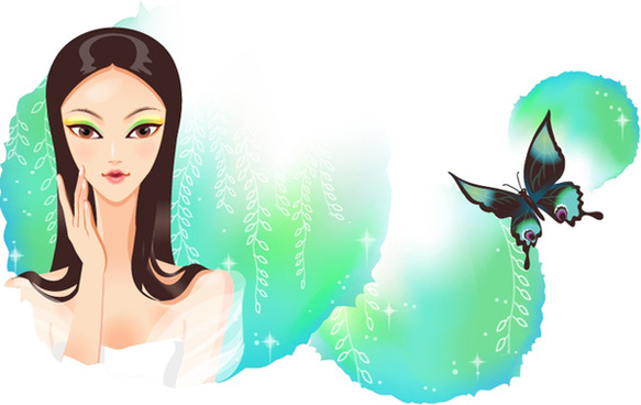 classical cartoon beautiful girl 2 vector