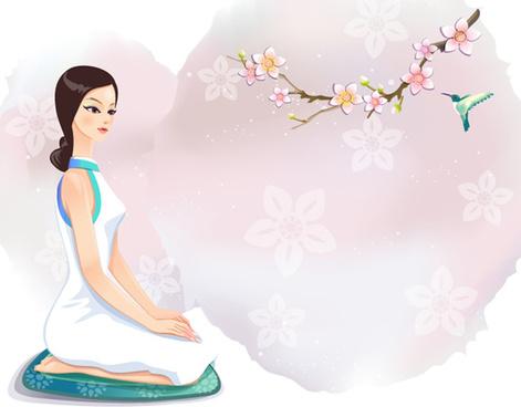 classical cartoon beautiful girl 6 vector