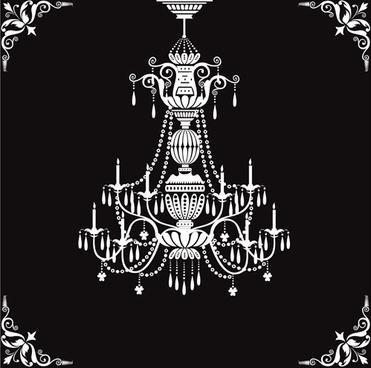 classical chandelier design vectors