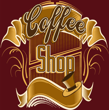 classical coffee shop logos vector set