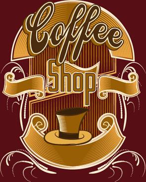 classical coffee shop logos vector set
