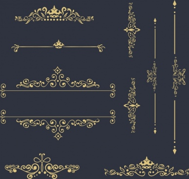 classical decor design elements various curved symmetry ornament