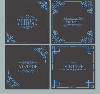 classical decorative corner templates dark blue design