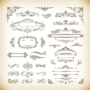 classical decorative design elements vector set
