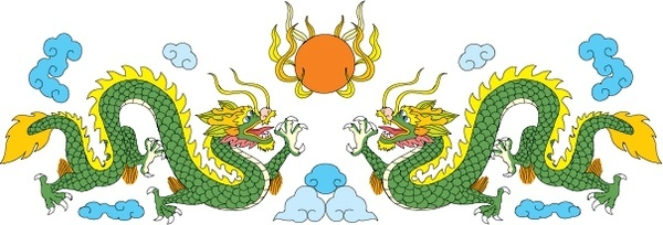 dragon background symmetric twin icons oriental classical design