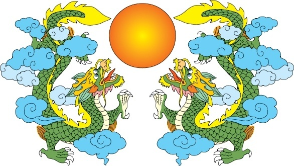 dragon background symmetric design classical oriental icons