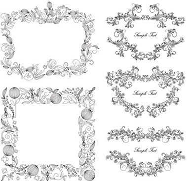 classical floral frame vector