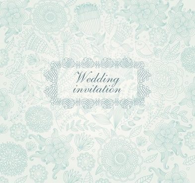 wedding card template elegant classical flat floral decor