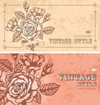rose card templates colored retro handdrawn sketch
