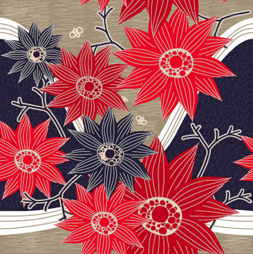 classical flowers pattern seamless vector set