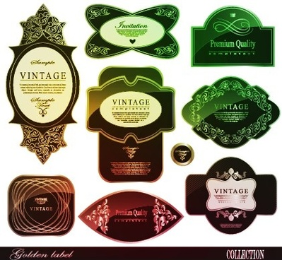 classical glass texture labels vector graphic
