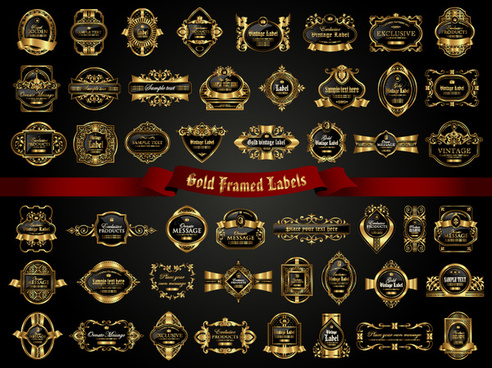 classical golden labels luxury vector