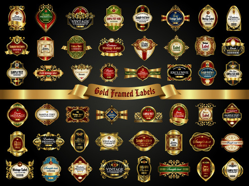 classical golden labels luxury vector