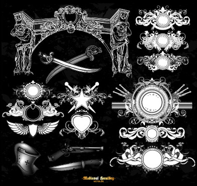 classical heraldry ornaments vector
