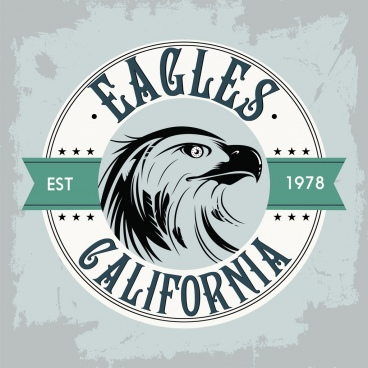 classical label template eagle icon flat retro design