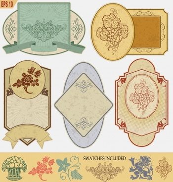 decorative label templates grape flower decor retro design