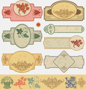 retro label design elements fruit dragon icons decor