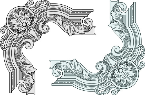classical medieval border frame vector