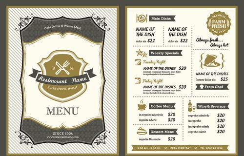 classical menu vectors design